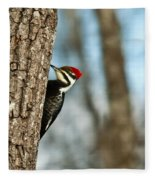 Pileated Billed Woodpecker Pecking 1 Fleece Blanket