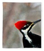 Pileated Woodpecker Up Close Fleece Blanket