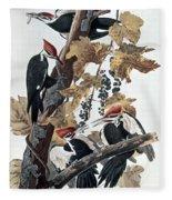 Pileated Woodpeckers Fleece Blanket