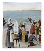 Pilgrims Washing Day, 1620 Fleece Blanket