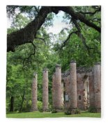 Pillars Of Sheldon Church Ruins Fleece Blanket