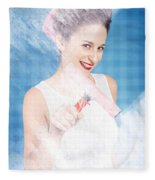 Pin Up Cleaning Lady Washing Glass Shower Door Fleece Blanket