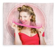 Pin Up Hairdresser Woman With Hair Salon Brush Fleece Blanket