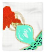 Pin Up Redhead Mermaid Fleece Blanket