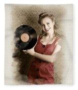 Pin-up Rockabilly Woman Holding Vinyl Record Lp Fleece Blanket