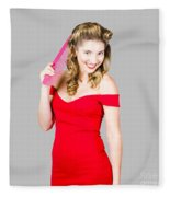 Pin-up Styled Fashion Model With Classic Hairstyle Fleece Blanket