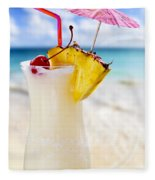 Pina Colada Cocktail On The Beach Fleece Blanket