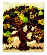 Pinatamiche Tree Painting In Crackle Paint Fleece Blanket