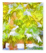 Pine Branch Under Snow Fleece Blanket