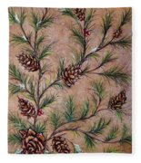 Pine Cones And Spruce Branches Fleece Blanket