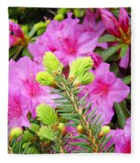 Pine Conifer Art Print Pink Azaleas Flower Garden Baslee Troutman Fleece Blanket