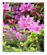 Pine Conifer Pink Azaleas 30 Summer Azalea Flowers Giclee Art Prints Baslee Troutman Fleece Blanket