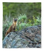 Pine Marten With Attitude Fleece Blanket