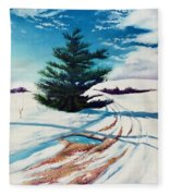 Pine Tree Along The Country Road Fleece Blanket