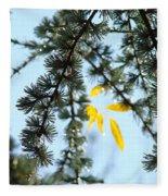 Pine Tree Art Prints Blue Sky Yellow Fall Leaves Fleece Blanket