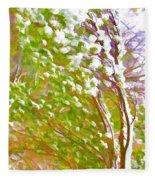 Pine Tree Covered With Snow Fleece Blanket