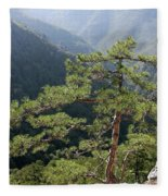 Pine Tree On Mountain Landscape Fleece Blanket