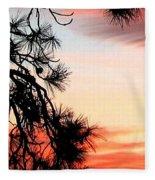 Pine Tree Silhouette Fleece Blanket