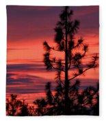 Pine Tree Sunrise Fleece Blanket