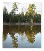 Pine Trees Across Mississippi River Fleece Blanket