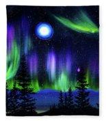 Pine Trees In Aurora Borealis Fleece Blanket