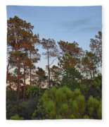 Pine Trees Waiting For Twilight Fleece Blanket