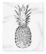 Pineapple Black And White Fleece Blanket