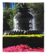 Pineapple Fountain Charleston Sc Fleece Blanket