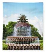 Pineapple Fountain In Charleston South Carolina Fleece Blanket