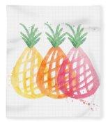 Pineapple Trio Fleece Blanket by Linda Woods