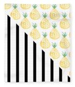 Pineapples And Stripes Fleece Blanket