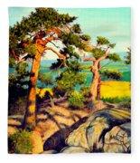 Pines On The Rocks Fleece Blanket