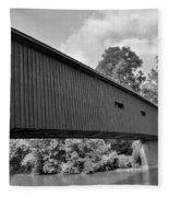 Pinetown Bushong's Covered Bridge Black And White Fleece Blanket
