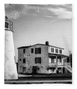 Piney Point Lighthouse - Mayland - Black And White Fleece Blanket
