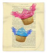 Pink And Blue Cupcakes Vintage Dictionary Art Fleece Blanket
