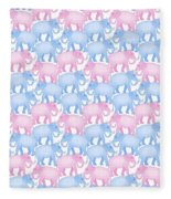 Pink And Blue Elephant Pattern Fleece Blanket