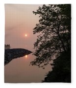 Pink And Green Summer - Soft Misty Sunrise On The Lake Fleece Blanket