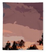 Pink And Mauve Sky Abstract Fleece Blanket