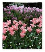 Pink And Mauve Tulips Fleece Blanket