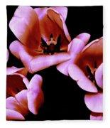 Pink And Orange Tulips Fleece Blanket