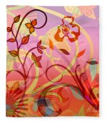 Pink And Purple Flower Medley Fleece Blanket