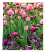 Pink And Purple Tulips At The Spring Floriade Festival Fleece Blanket