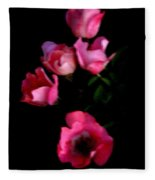 Pink And White Flowers On Black Fleece Blanket