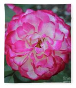 Pink And White Rose Square Fleece Blanket