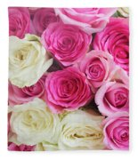 Pink And White Roses Bunch Fleece Blanket