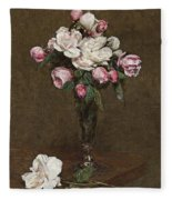 Pink And White Roses In A Champagne Flute Fleece Blanket