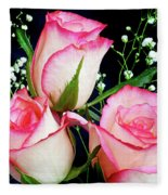 Pink And White Roses Fleece Blanket