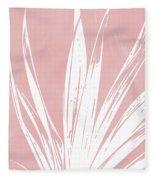 Pink And White Tropical Leaf- Art By Linda Woods Fleece Blanket