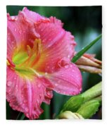 Pink And Yellow Lily After Rain Fleece Blanket