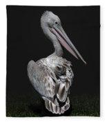Pink-backed Pelican Rear View Fleece Blanket